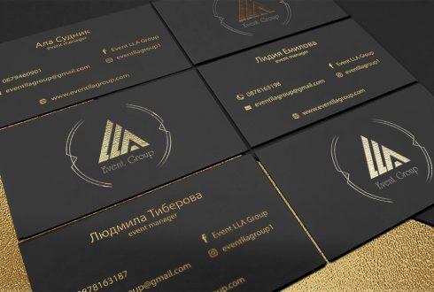"""Печат на луксозни визитки с топъл печат """"Gold"""", клиент: LLA Event Group, Булбранд Медия ООД"""