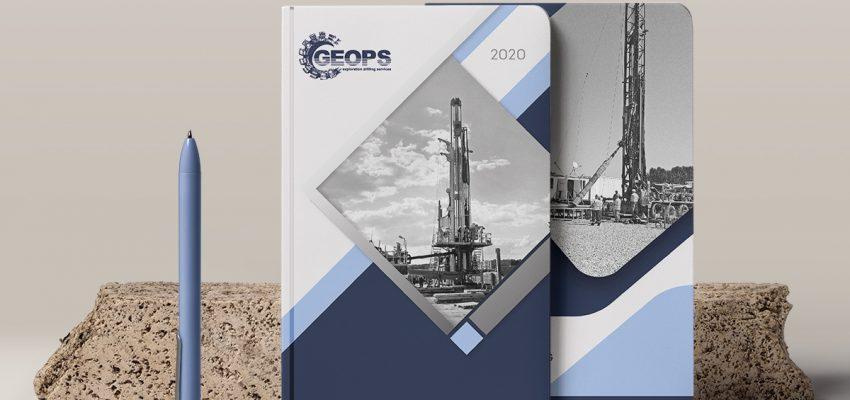 Печат на фирмени тефтери с персонализирани каширани (твърди) корици, клиент: ГЕОПС, Булбранд Медия ООД