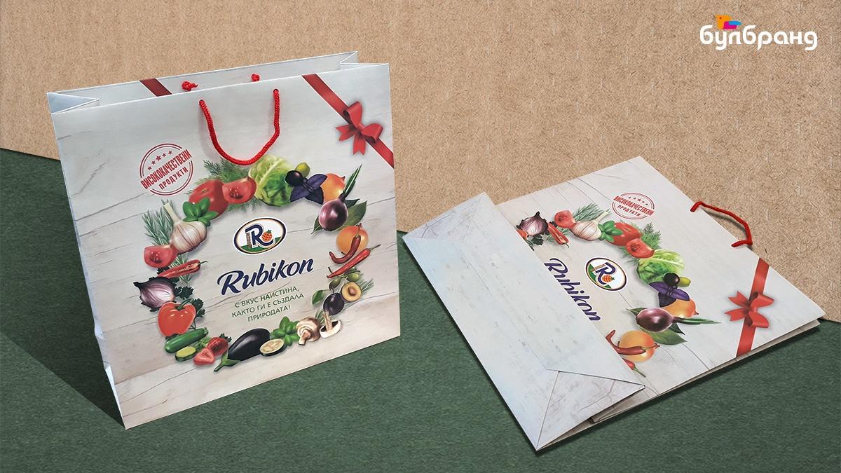 Изработка на хартиени торбички с текстилни дръжки (шнур), клиент: Рубикон, Булбранд Медия ООД