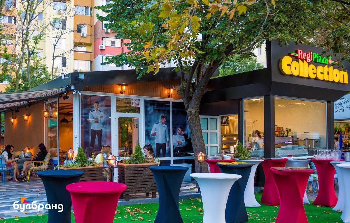 Брандиране на витрини на заведение с перфо фолио бранд: Regi Pizza Collection, Булбранд Медия ООД